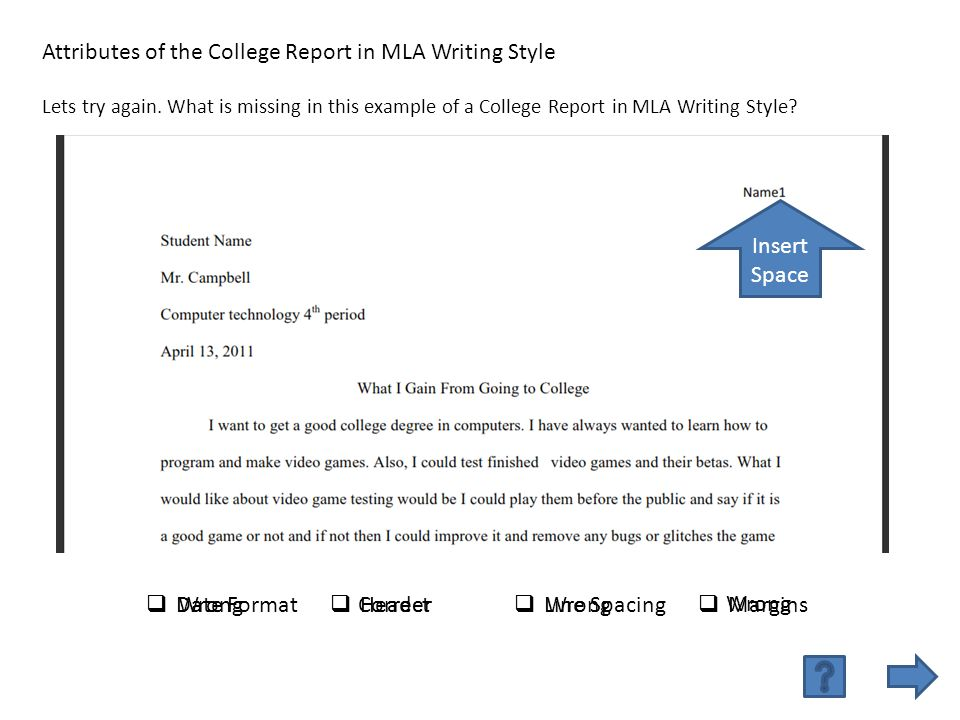 date format header line spacing margins attributes of the college report in