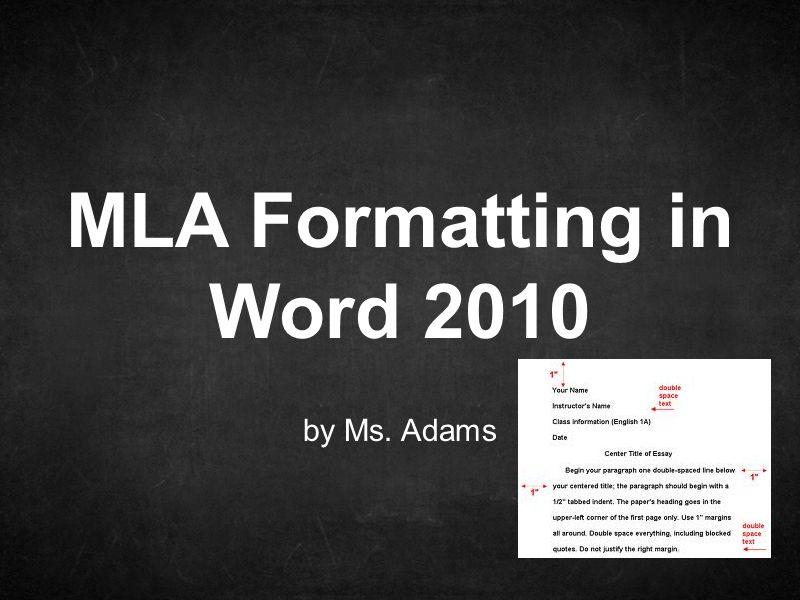mla formatting in word 2010