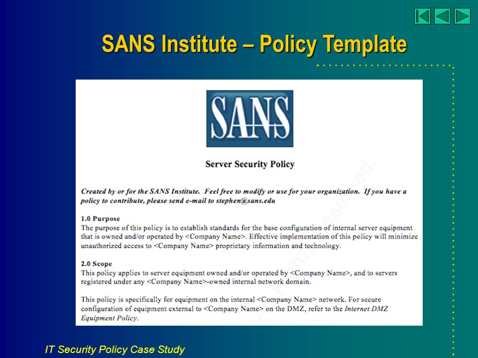 7 it security policy case study sans institute policy template