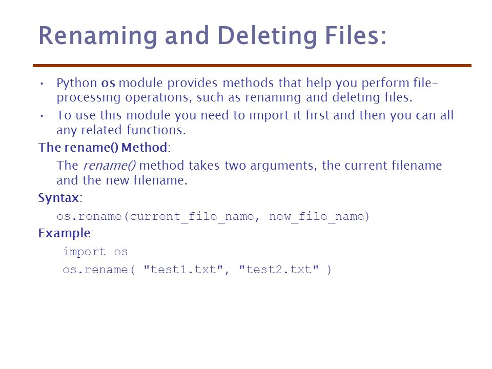 16  Python Files I/O Printing to the Screen: The simplest way to