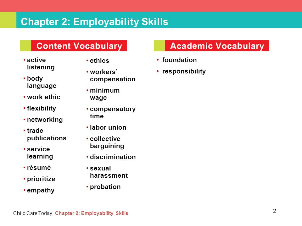 Chapter 2 Employability Skills Child Care Today Chapter 2