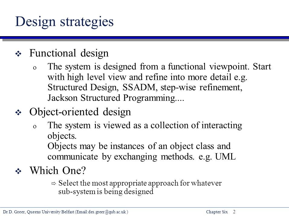 Dr D Greer Queens University Belfast Chapter Six 1 Software Engineering Chapter Six Software Design Quality Learning Outcomes Ppt Download