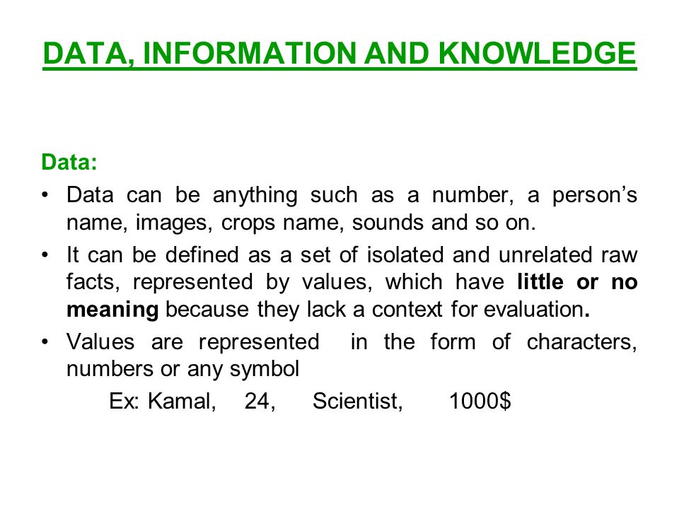 Data Information And Knowledge Data Data Can Be Anything Such As A
