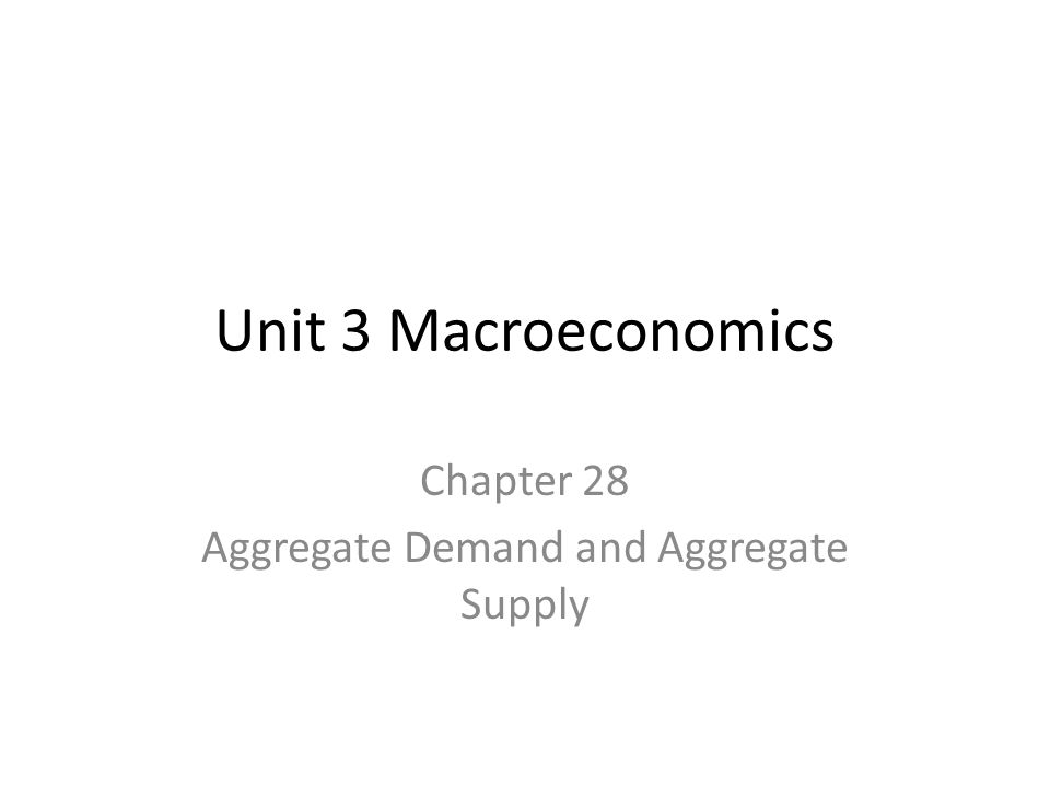 Unit 3 Macroeconomics Chapter 28 Aggregate Demand and Aggregate Supply