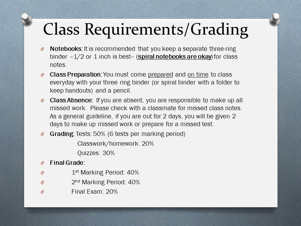 math for college readiness class requirements grading o notebooks