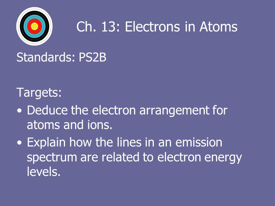 Ch 13 Electrons In Atoms Standards Ps2b Targets Deduce The. Worksheet. Arrangement Of Electrons In Atoms Worksheet Answers At Mspartners.co