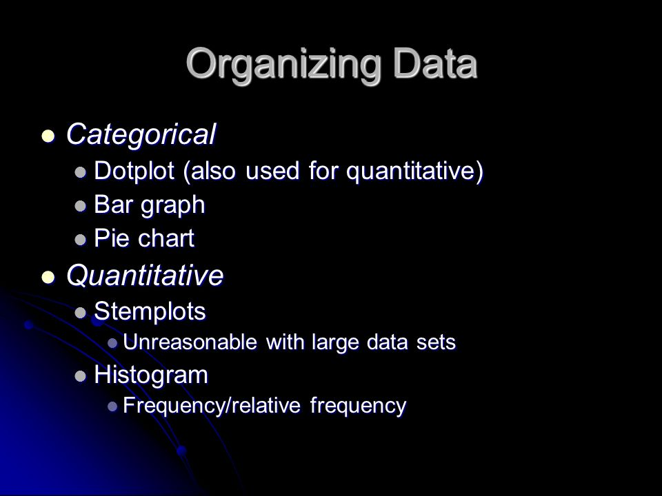 Organizing Data Categorical Categorical Dotplot (also used for quantitative) Dotplot (also used for quantitative) Bar graph Bar graph Pie chart Pie chart Quantitative Quantitative Stemplots Stemplots Unreasonable with large data sets Unreasonable with large data sets Histogram Histogram Frequency/relative frequency Frequency/relative frequency