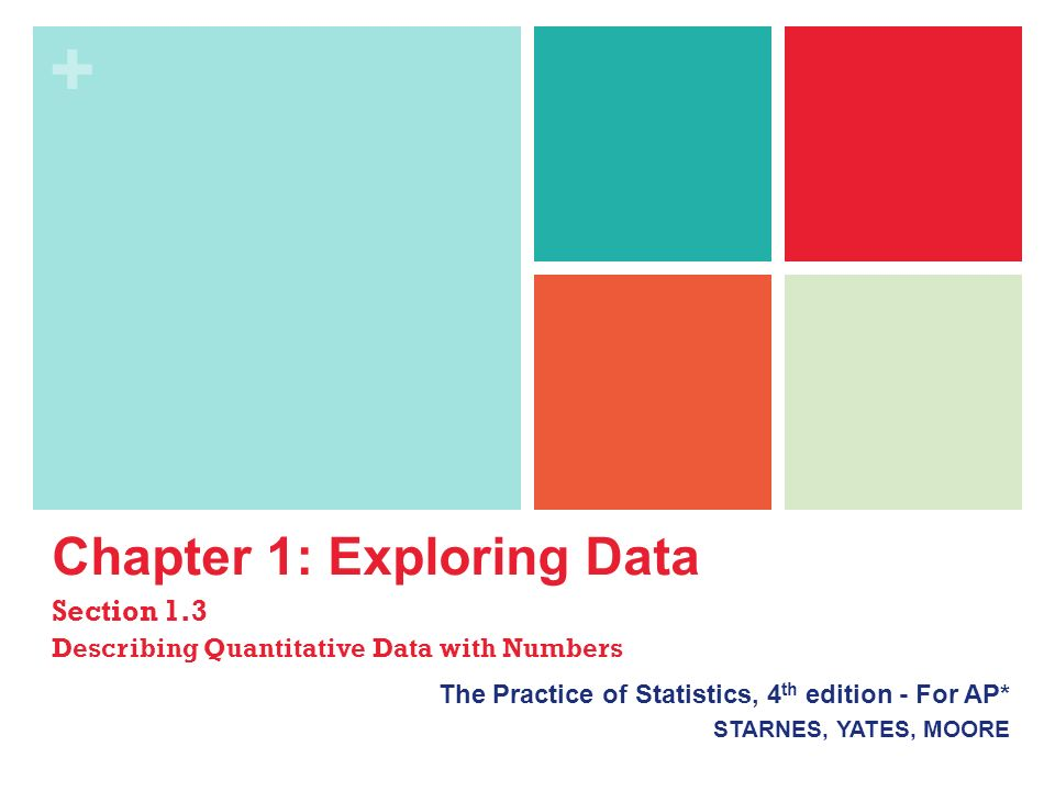+ Chapter 1: Exploring Data Section 1.3 Describing Quantitative Data with Numbers The Practice of Statistics, 4 th edition - For AP* STARNES, YATES, MOORE
