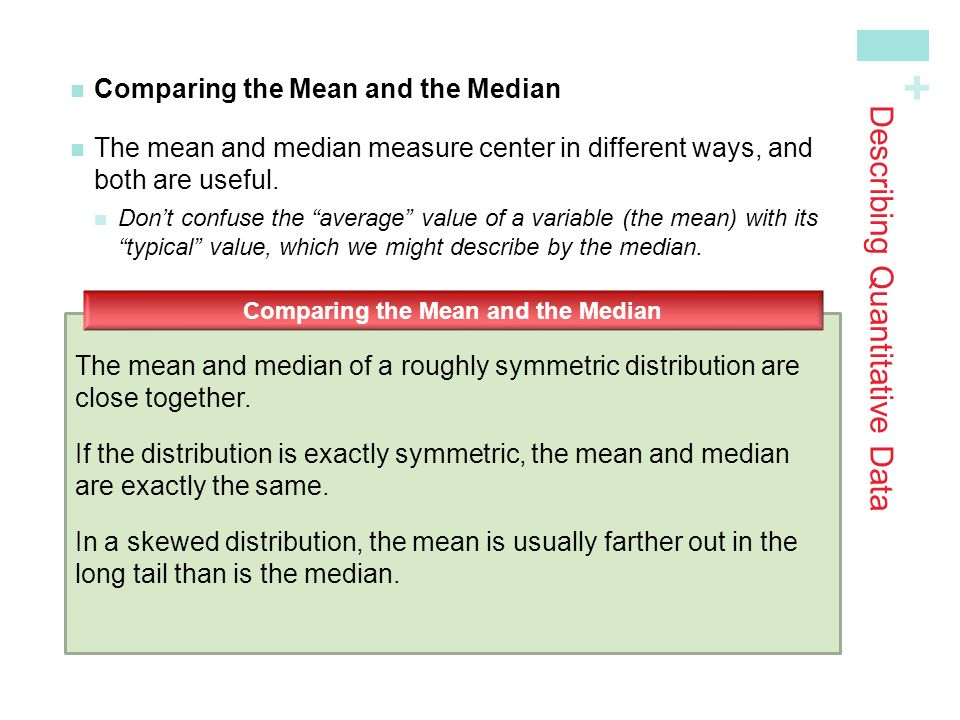 + Comparing the Mean and the Median The mean and median measure center in different ways, andboth are useful.