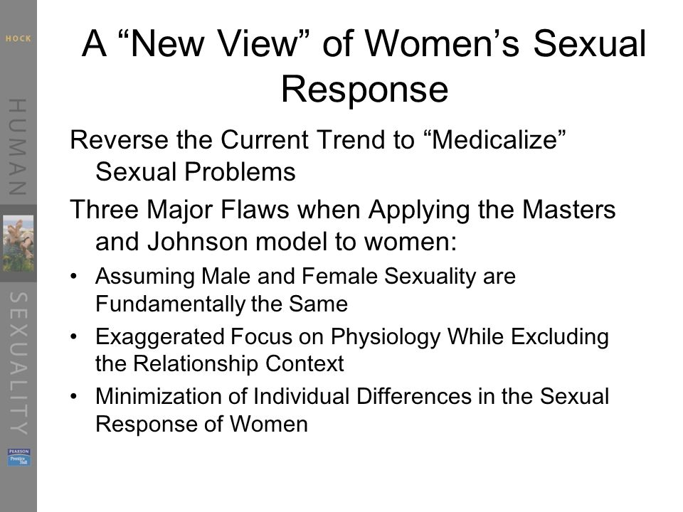 A New View of Women's Sexual Response Reverse the Current Trend to Medicalize Sexual Problems Three Major Flaws when Applying the Masters and Johnson model to women: Assuming Male and Female Sexuality are Fundamentally the Same Exaggerated Focus on Physiology While Excluding the Relationship Context Minimization of Individual Differences in the Sexual Response of Women