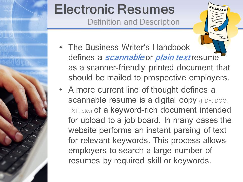 Digital communication and computer technology by michelle paley electronic resumes definition and description the business writers handbook defines a scannable or plain text resume altavistaventures Image collections