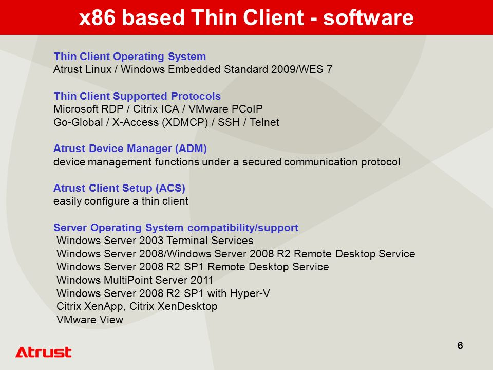 Atrust Solution for Thin Client and Embedded Server Product