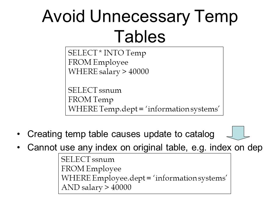 Query Tuning  Types of Nested Queries Uncorrelated subqueries with
