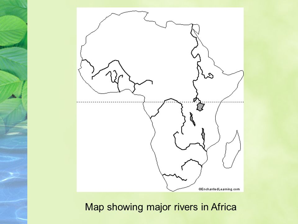 Map showing major rivers in Africa