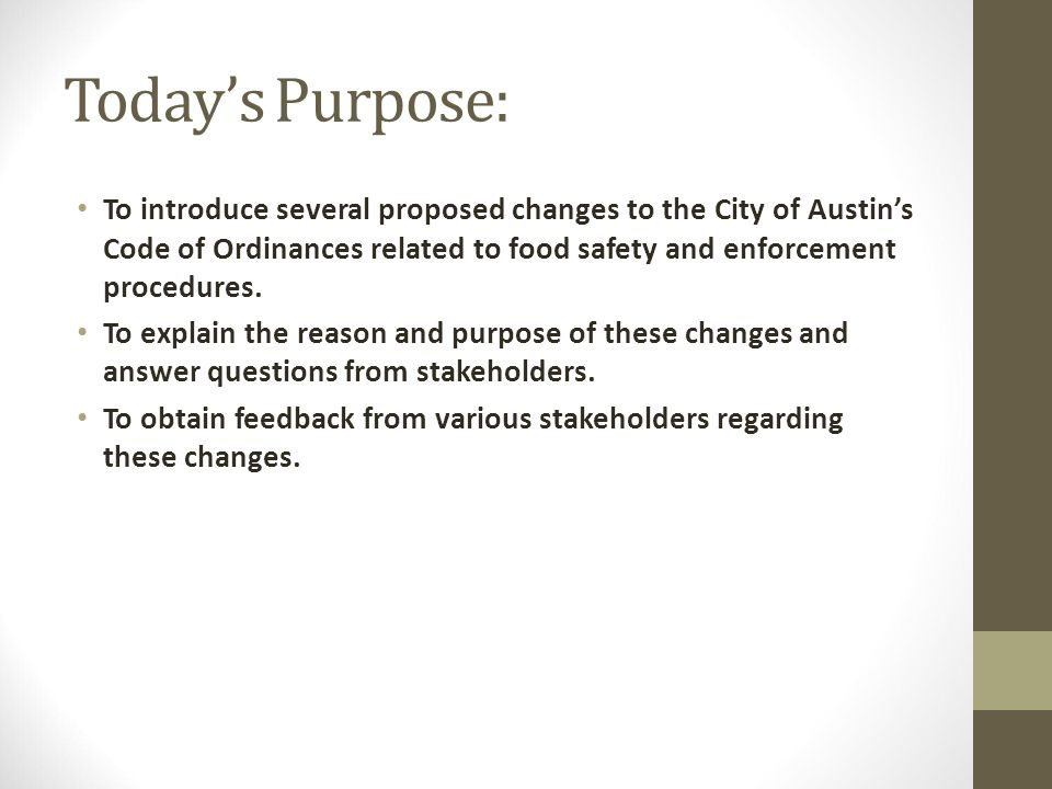 City Of Austin Environmental Health Services Division Proposed City