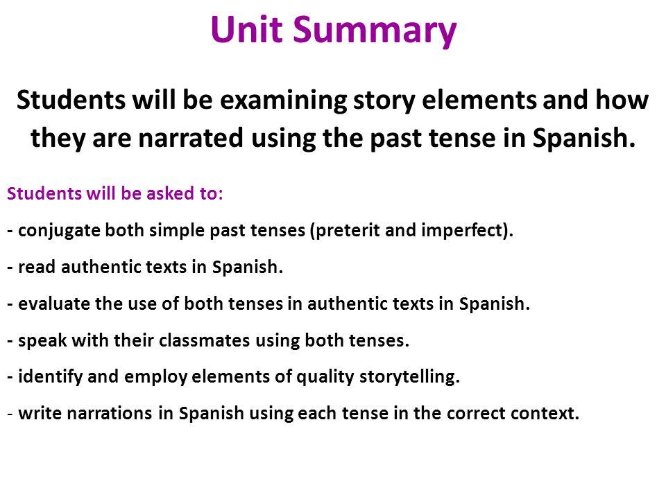 past tense story in spanish