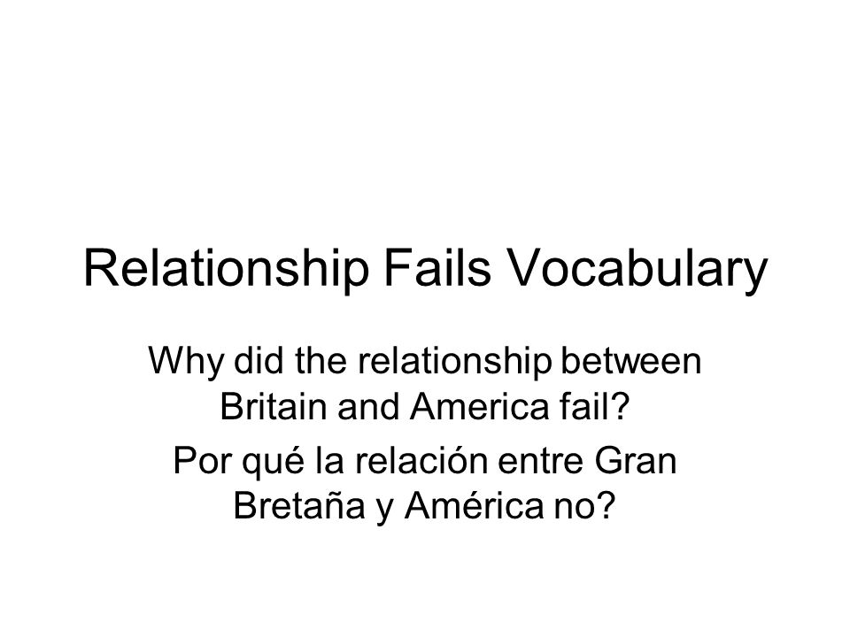 Relationship Fails Vocabulary Why did the relationship between Britain and America fail.