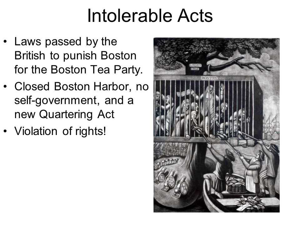 Intolerable Acts Laws passed by the British to punish Boston for the Boston Tea Party.