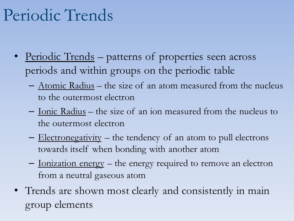 Periodic Trends Chemistry 5c Learning Objectives Use The Periodic