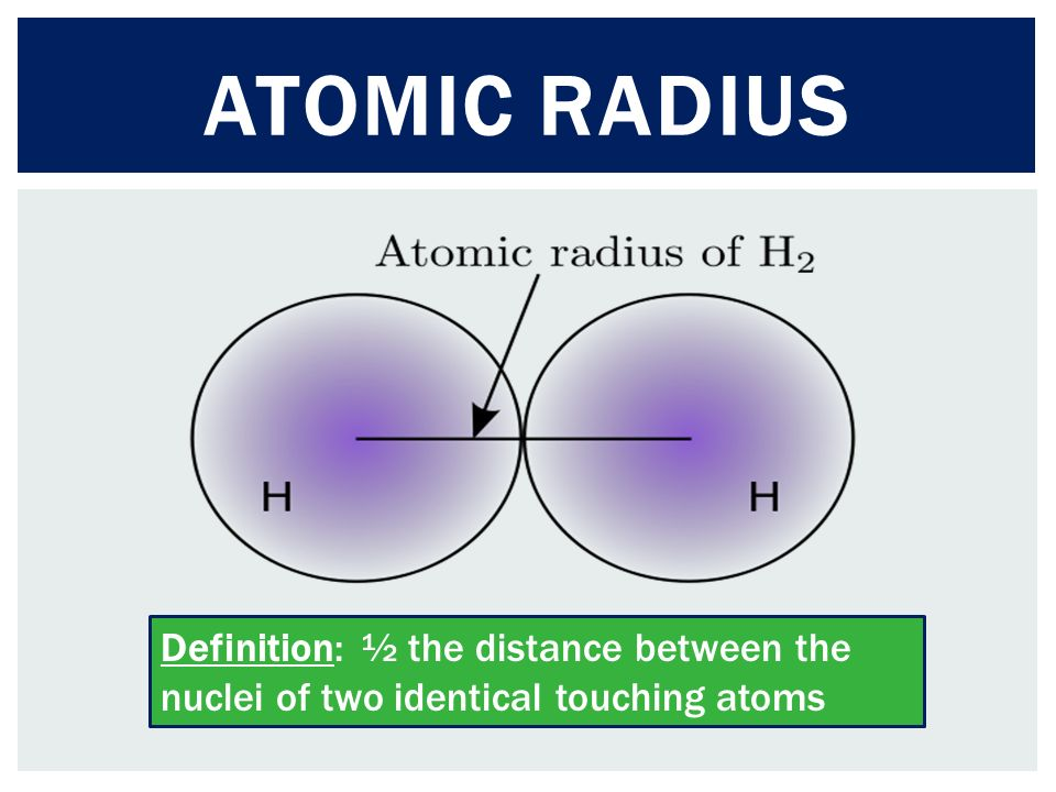 Delightful 3 ATOMIC RADIUS Definition: ½ The Distance Between The Nuclei Of Two  Identical Touching Atoms