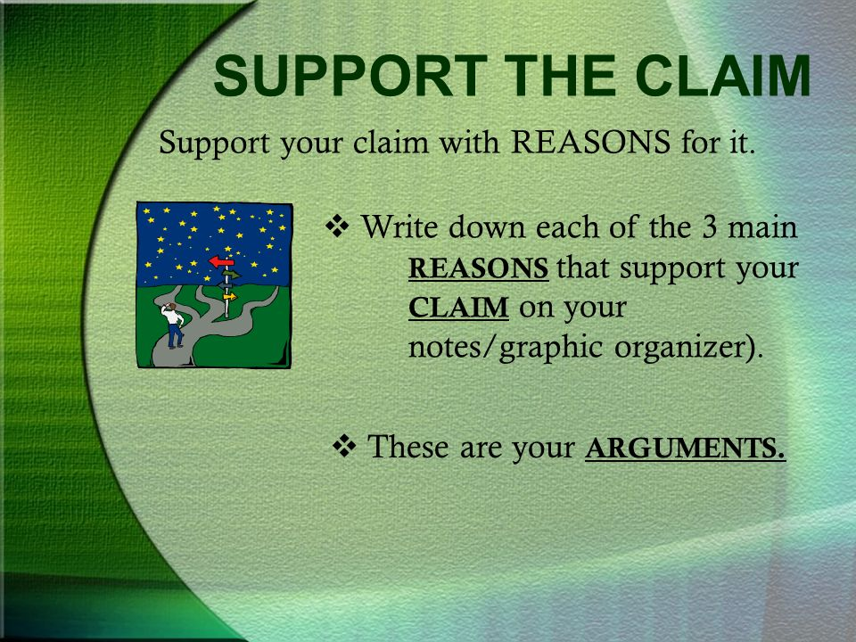 SUPPORT THE CLAIM Support your claim with REASONS for it.