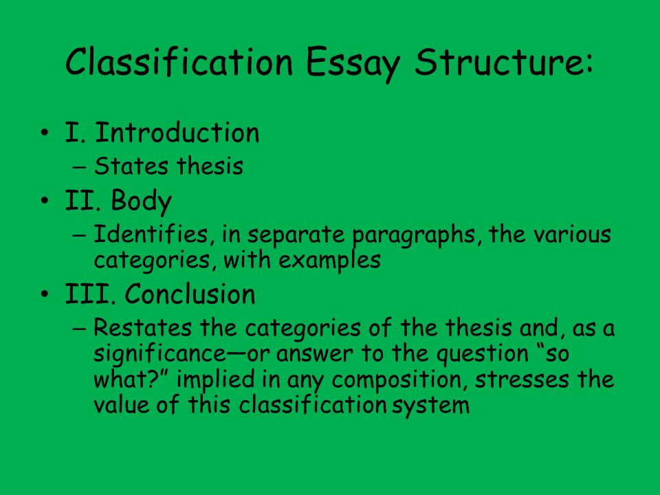 classification essay example Classification essay structure in an example, a classification essay may involve detailing the different types of computers writing an introduction the first part of the classification essay is the introduction, where the author has to clearly identify what it is they are discussing.