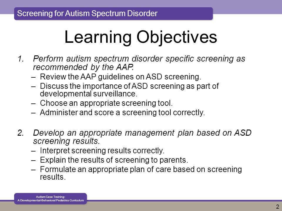 Autism Screening And Scoring Guides >> Screening For Autism Spectrum Disorder Autism Case Training