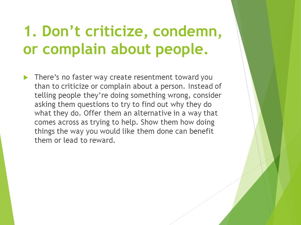 Strengthening Your Interpersonal Relationships 1 Dont Criticize