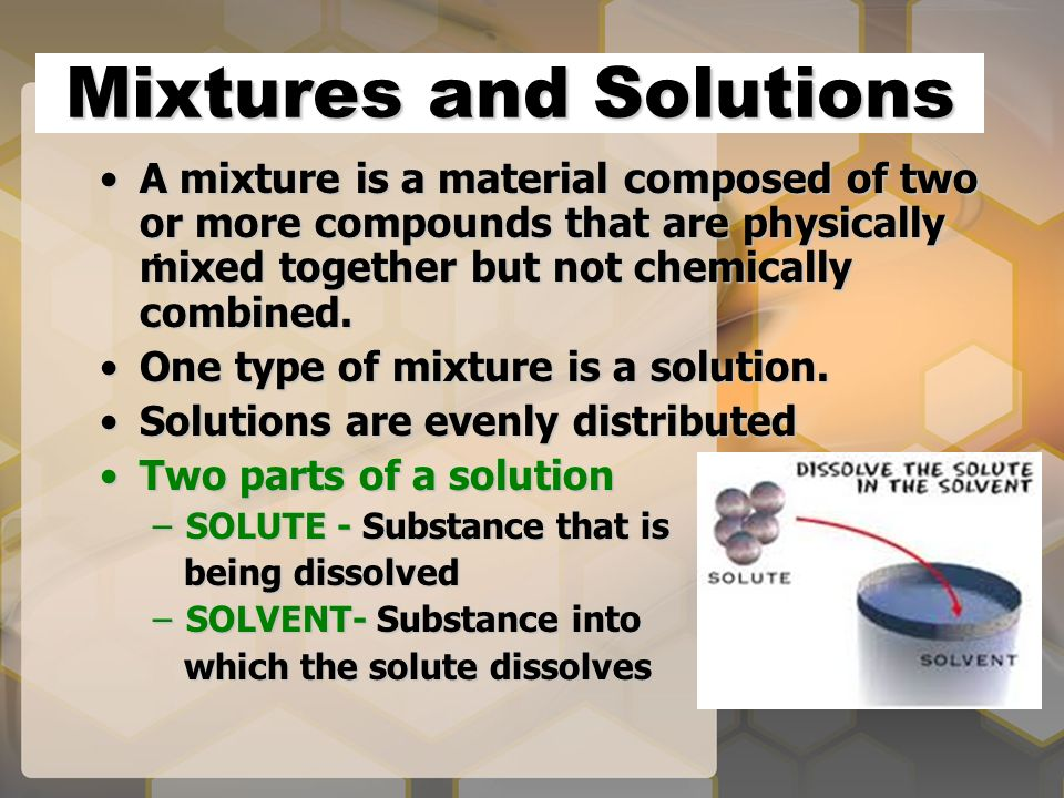 Mixtures and Solutions A mixture is a material composed of two or more compounds that are physically mixed together but not chemically combined.A mixture is a material composed of two or more compounds that are physically mixed together but not chemically combined.