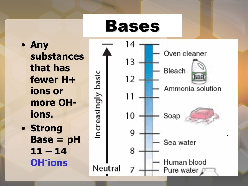 Bases Any substances that has fewer H+ ions or more OH- ions. Strong Base = pH 11 – 14 OH - ions