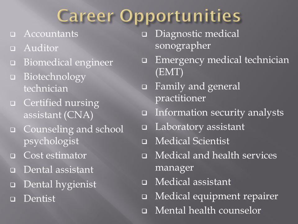 Accountants Auditor Biomedical Engineer Biotechnology