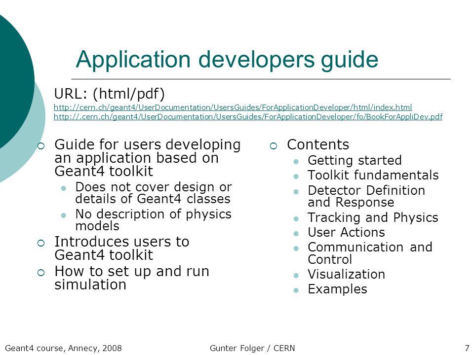 documentation gunter folger cern geant4 school annecy ppt download rh slideplayer com Android Developer Guide.pdf Hair Developer Guide
