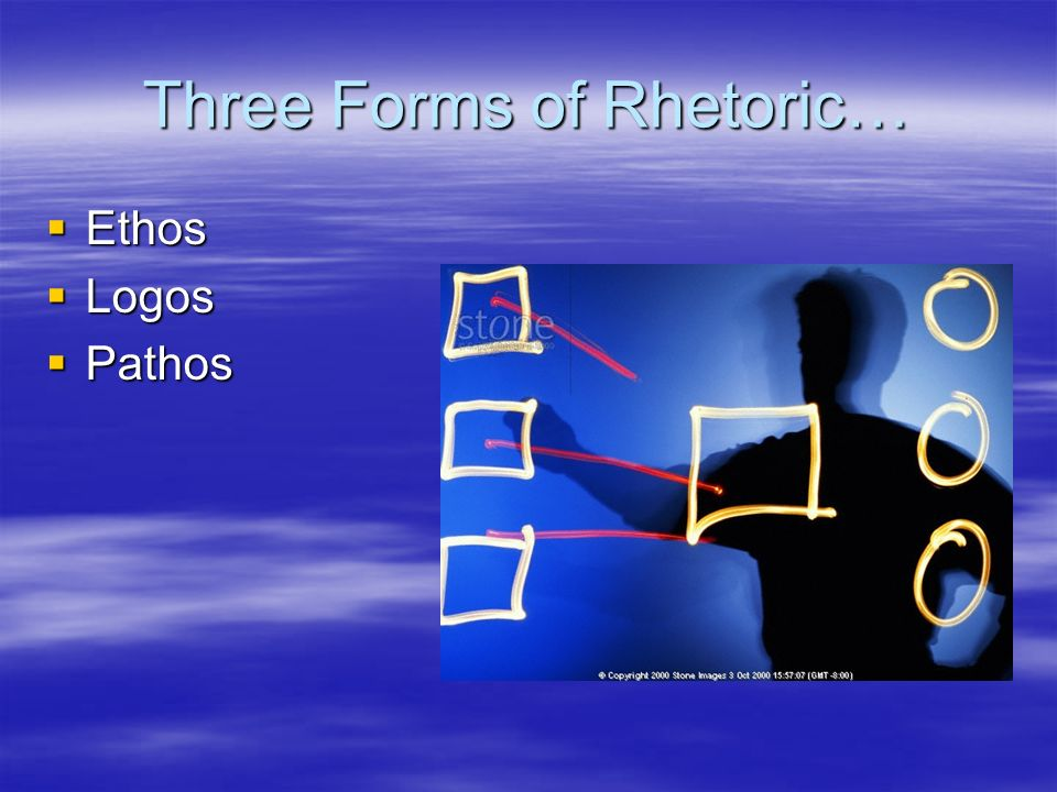 Three Forms of Rhetoric…  Ethos  Logos  Pathos