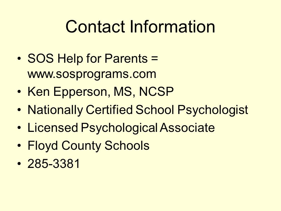 Sos Help For Parents From Book Sos Help For Parents By Lynn Clark