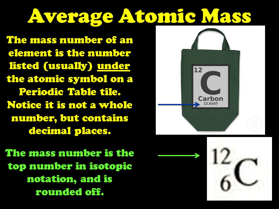 average atomic mass the mass number of an element is the number listed usually