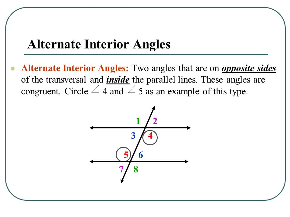 Unit 1 Angles And Parallel Lines Transversal Definition A Line