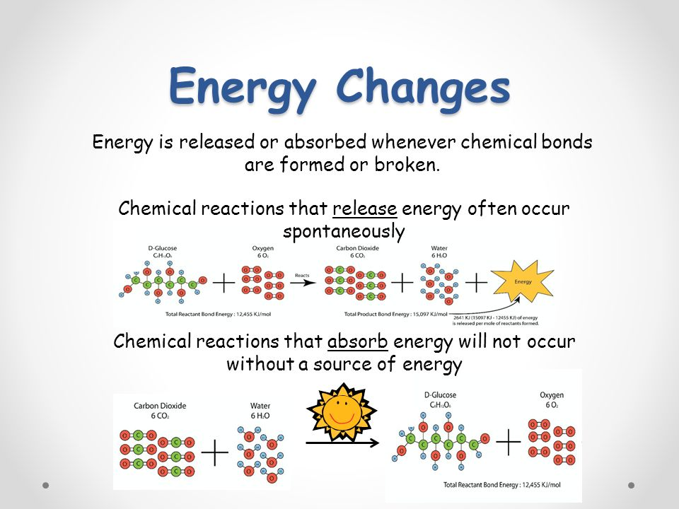 Energy Changes Energy is released or absorbed whenever chemical bonds are formed or broken.