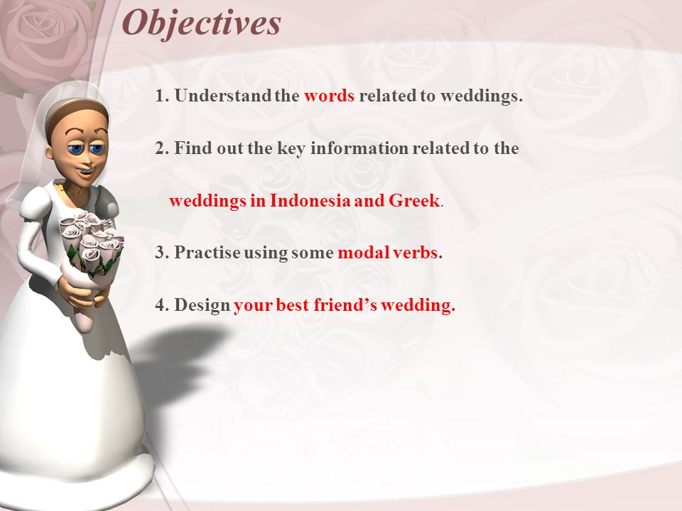 unit3 lesson3 weddings objectives 1 understand the words related to
