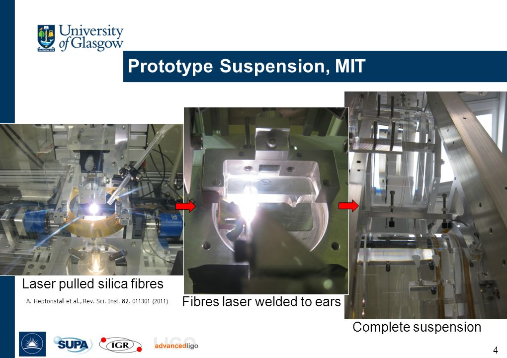 Prototype Suspension, MIT Laser pulled silica fibres 4 A.