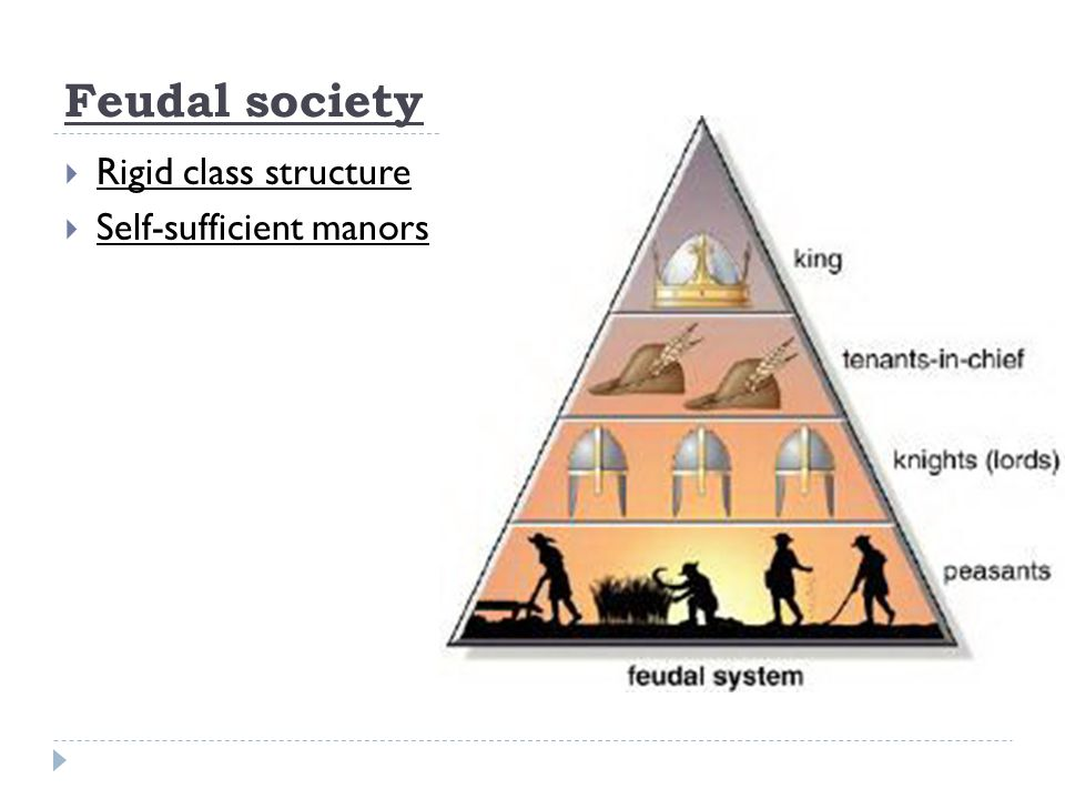 Feudal society  Rigid class structure  Self-sufficient manors