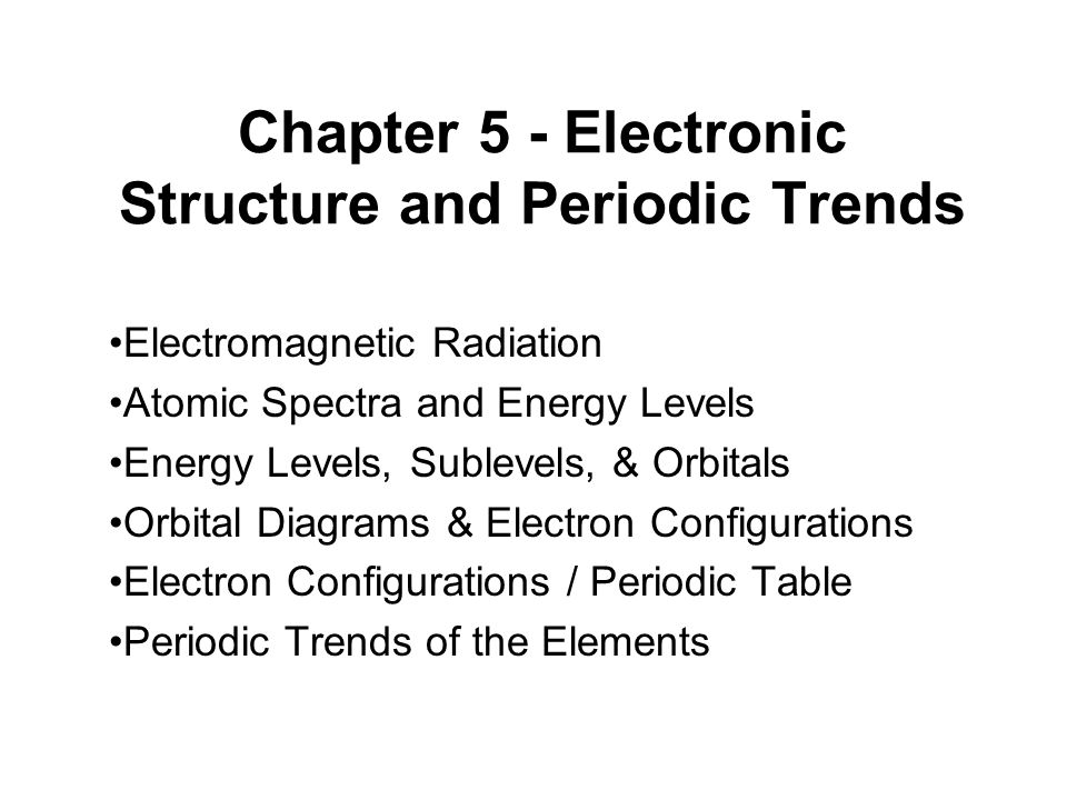 Chapter 5 electronic structure and periodic trends electromagnetic 1 chapter 5 electronic structure and periodic trends electromagnetic radiation atomic spectra and energy levels urtaz Gallery