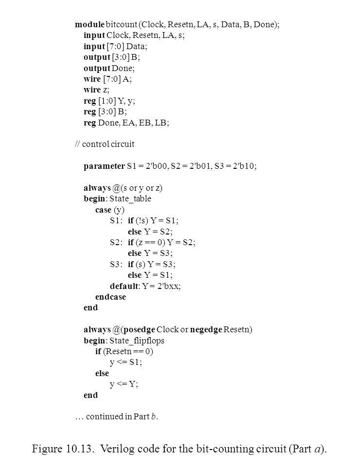 Figure ASM chart for the bit counter   Figure Verilog code