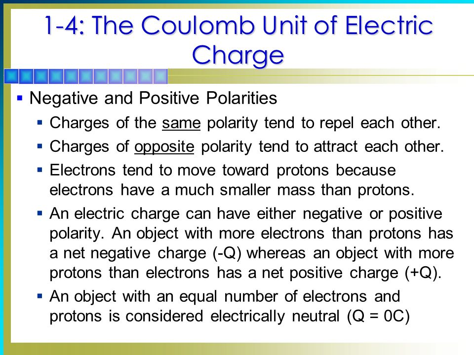 Electricity Topics Covered in Chapter 1 1-1: Negative and Positive ...