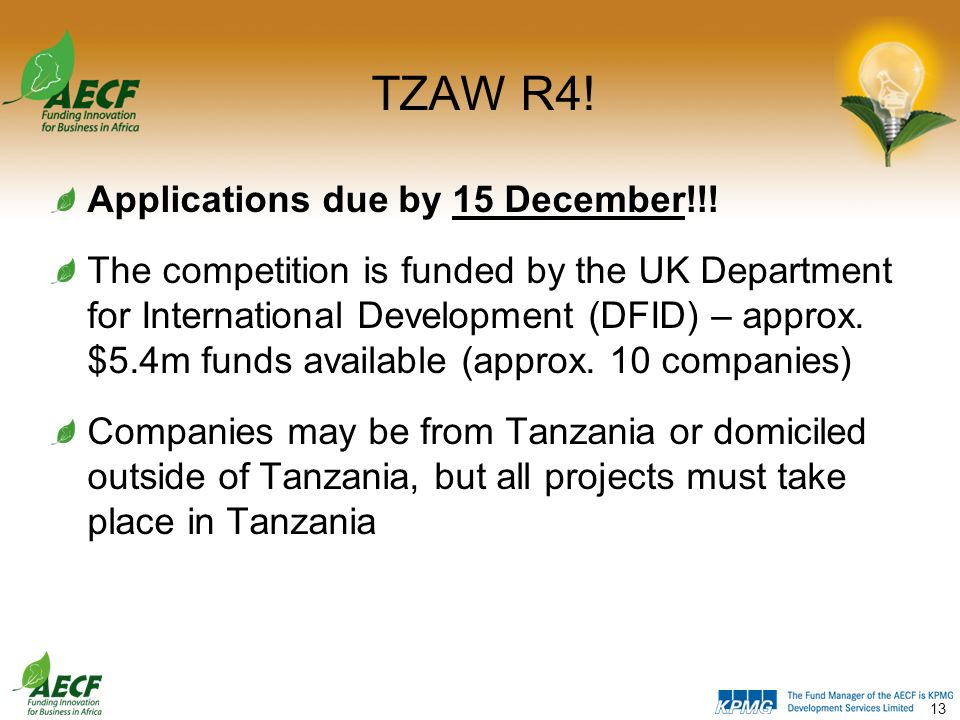 Tanzania Agribusiness Window (TZAW): Round 4  The