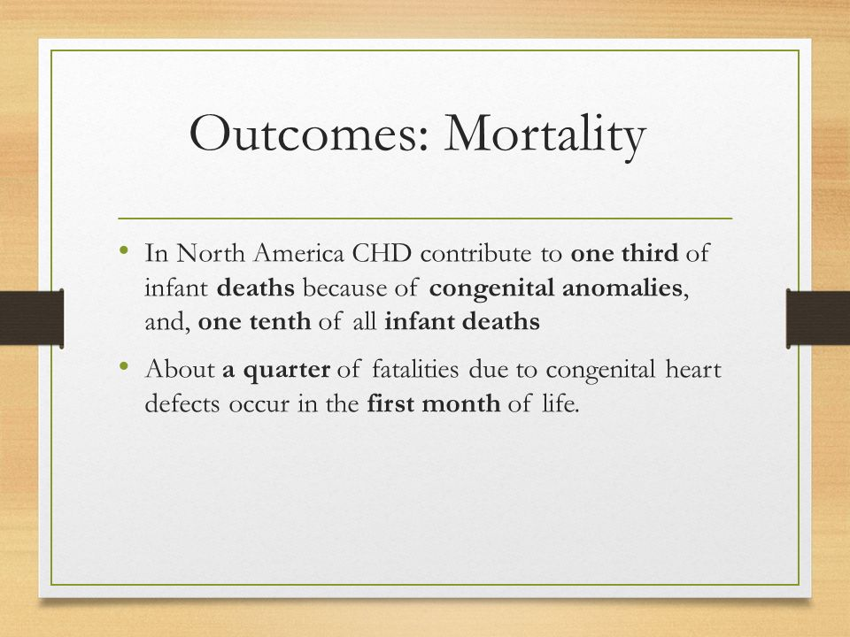 Outcomes: Mortality In North America CHD contribute to one third of infant deaths because of congenital anomalies, and, one tenth of all infant deaths About a quarter of fatalities due to congenital heart defects occur in the first month of life.