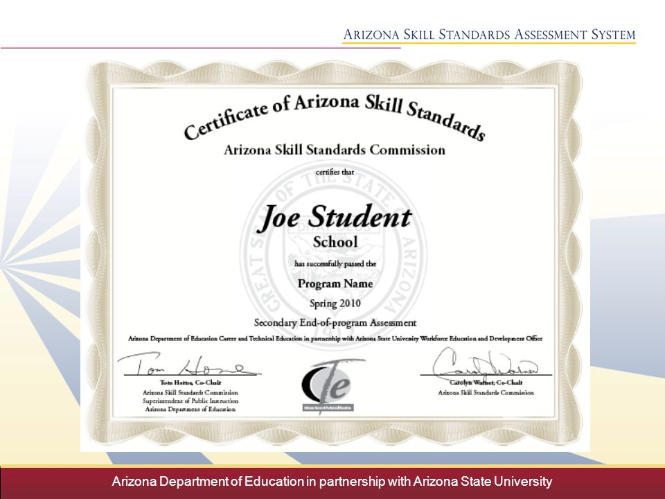 Arizona Department Of Education In Partnership With Arizona State