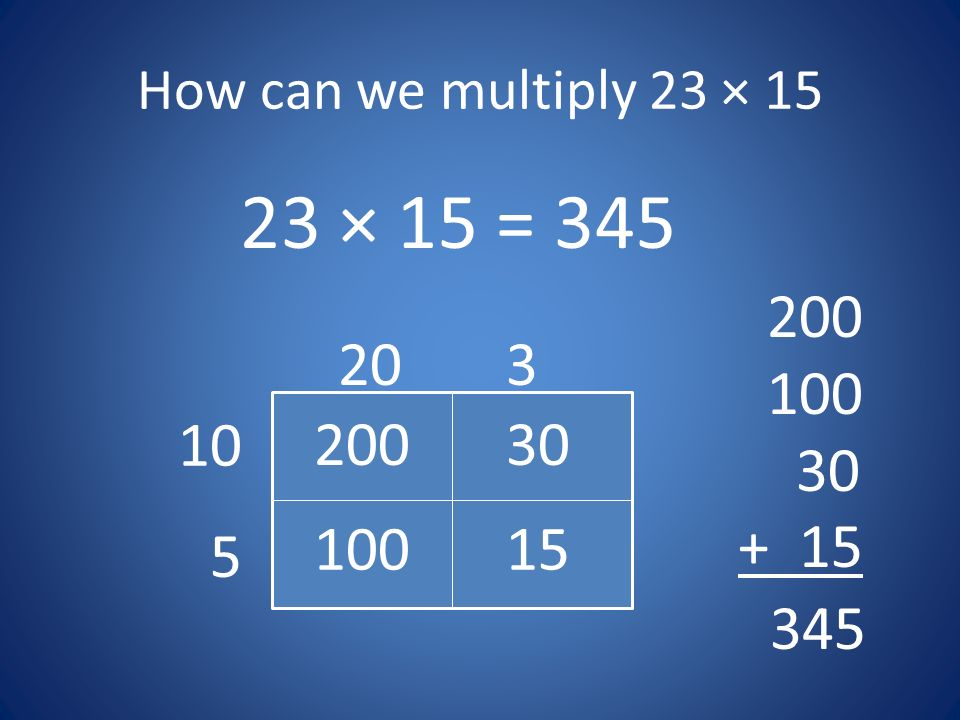How can we multiply 23 × × 15 =