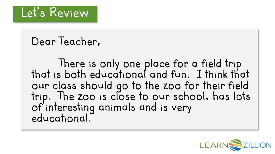 paragraph about school trip