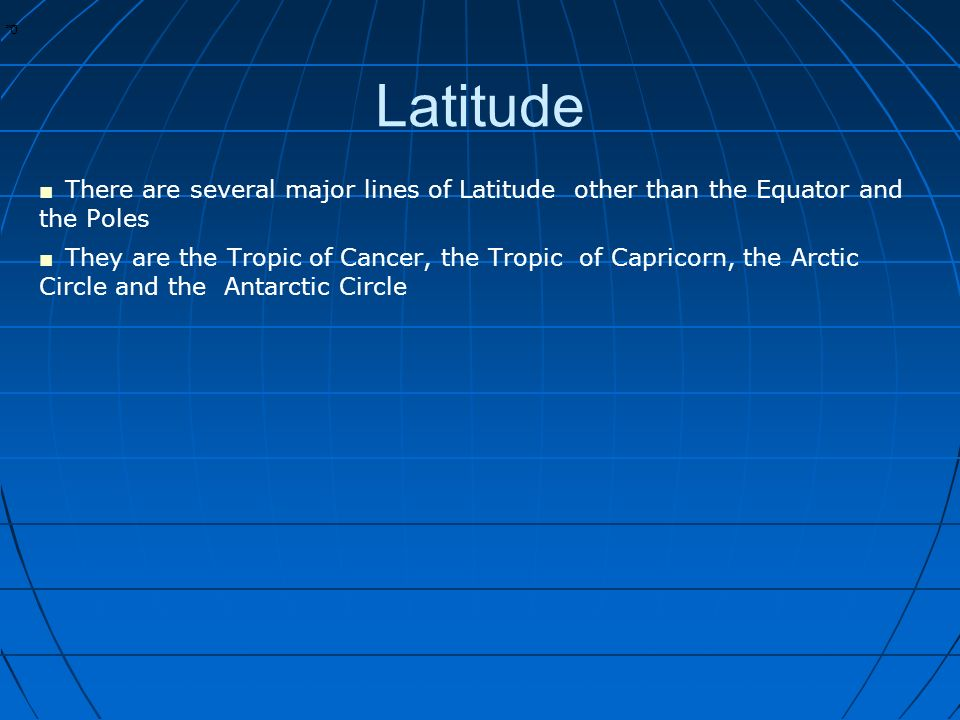 * * 0 Latitude ■ There are several major lines of Latitude other than the Equator and the Poles ■ They are the Tropic of Cancer, the Tropic of Capricorn, the Arctic Circle and the Antarctic Circle