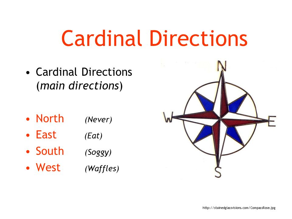 Cardinal Directions Cardinal Directions (main directions) North (Never) East (Eat) South (Soggy) West (Waffles)